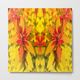 YELLOW & RED ORANGE AUTUMN LEAVES PATTERNS Metal Print