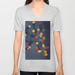 Blurred background with multicolored lights of garland Unisex V-Neck