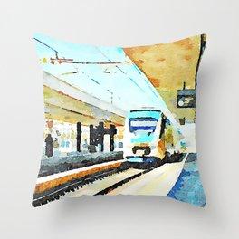 Pescara railway station: train enters the station Throw Pillow