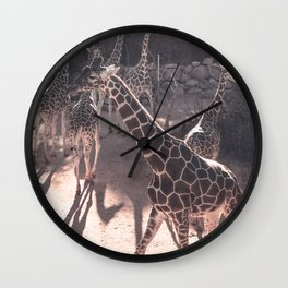 Giraffe Strut // Spotted Long Neck Graceful Creatures in Wildlife Preserve Wall Clock