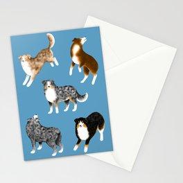 Australian Shepherd Pattern (Blue Background) Stationery Cards