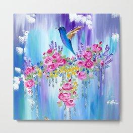 Roses and Hummingbirds in Love Metal Print