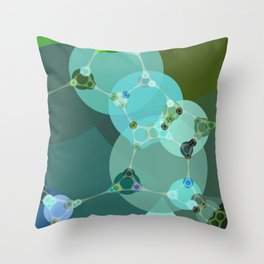 vanessa - abstract design of warm green and pale blue turquoise Throw Pillow
