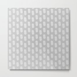 Light grey background with white spring leaves pattern Metal Print