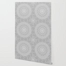 Secret garden mandala in soft gray Wallpaper
