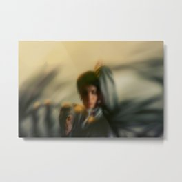 [9] Blurred woman, dancer with plants, shadows, forest Metal Print