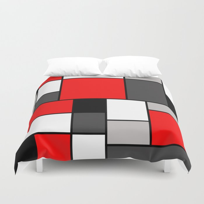 Red Black and Grey squares Duvet Cover