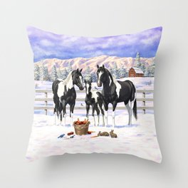 Black Pinto Horse Family Paint Horses In Snow Throw Pillow