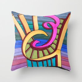 Colorful Swirl Architectural Illustration 86 Throw Pillow