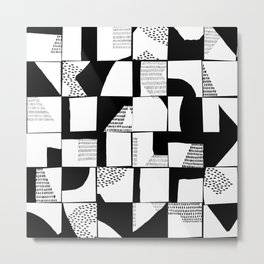 Black and White Typographical Fragmentation Cheater Quilt Metal Print