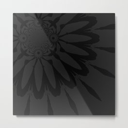 The Modern Flower Slate Black Metal Print