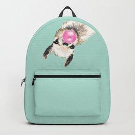 Bubble Gum Sneaky Llama in Green Rucksack