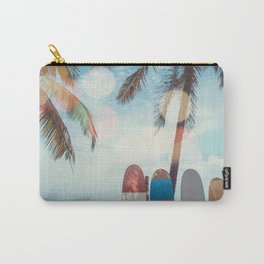 Surf Life Tropical Coastal Landscape Surfboard Scene Carry-All Pouch