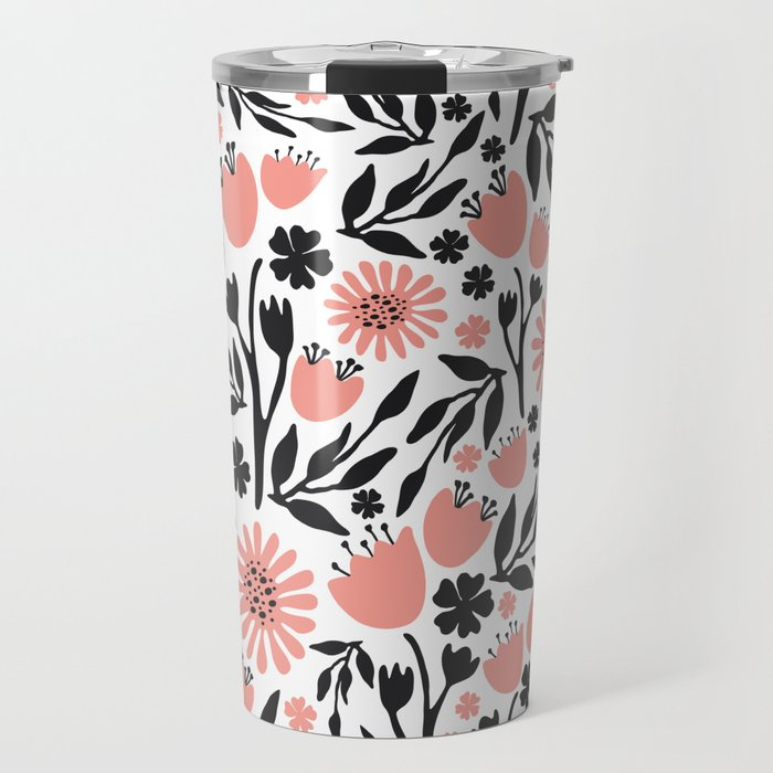 Floral Pattern Dark Gray and Light Coral Travel Mug