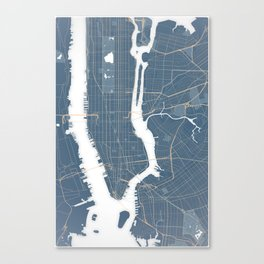 New York City - Detailed Road & Subway Map Canvas Print