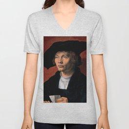 """Albrecht Dürer """"Portrait of Bernhard von Reesen"""" Unisex V-Neck"""