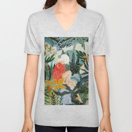 The Distracted Reader, Jungle Tropical Painting, Woman in Red Modern Bohemian Eclectic Unisex V-Neck