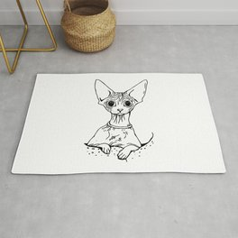 Big Eyed Pretty Wrinkly Kitty - Sphynx Cat Illustration - Nekkie - Cat Lover Gift Rug