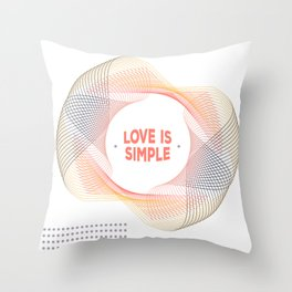 Pink Abstract typography Love cute Throw Pillow