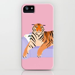 The Boss Tiger laying on the couch iPhone Case