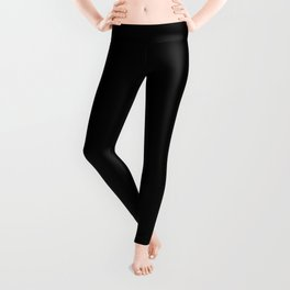 Black Minimalist Solid Color Block Leggings