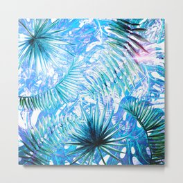 Aloha - Blue abstract Tropical Palm Leaves and Monstera Leaf Garden Metal Print