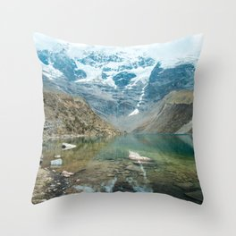 Perfection   Nature Landscape Photography of Still Blue Lake with Snowy Mountains in Peru Throw Pillow