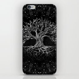 Tree of Life Drawing Black and White iPhone Skin