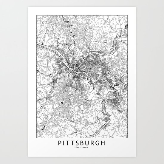 Pittsburgh White Map by multiplicity