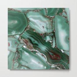 Luxury Malachite Marble Agate  Metal Print