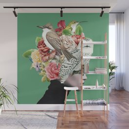 Lady with Birds(portrait) 2 Wall Mural