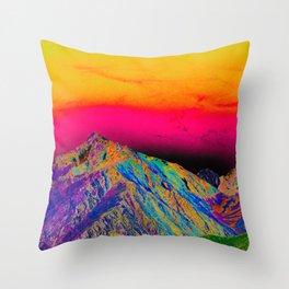 California's Sierra Mts-Digital Art, Green & Purple Throw Pillow