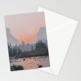 Yosemite Valley Sunrise Pretty Pink Stationery Cards