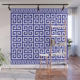 Greek Key (Navy Blue & White Pattern) Wall Mural