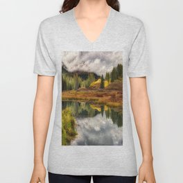 Transition Of The Seasons in Rocky Mountains Colorado by OLena Art Unisex V-Neck