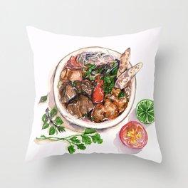 """""""Bun rieu"""" - Noodle with freshwater crab Throw Pillow"""