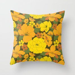Orange & Yellow Lilies Retro Floral Pattern Throw Pillow