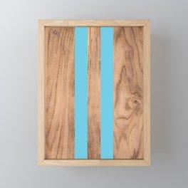 Striped Wood Grain Design - Light Blue #807 Framed Mini Art Print
