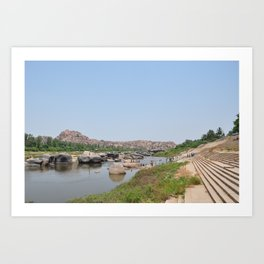 Indian River Tungabhadra in Hampi, State: Karnataka, India in March 2012 Art Print
