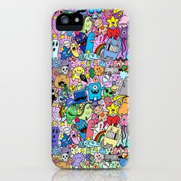 Doodle Monsters Comic Rainbow iPhone Case