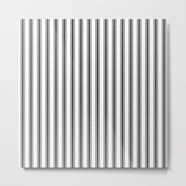 Black and White French Fleur de Lis in Mattress Ticking Stripe Metal Print