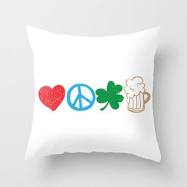 Funny St Patricks Day Love Peace Clover and Beer product Throw Pillow