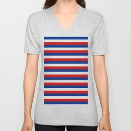 blue white red stripes Unisex V-Neck