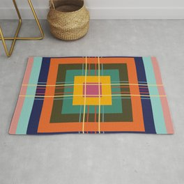 Fine Lines on Retro Colored Squares Rug
