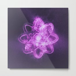 Atom symbol. Abstract night sky background Metal Print