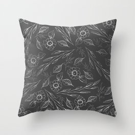 Modern hand drawn silver gray floral illustration Throw Pillow