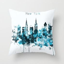 New York Monochrome Blue Skyline Throw Pillow