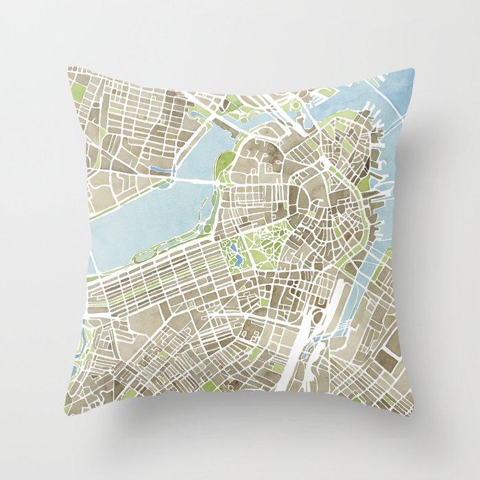 Boston Sepia Watercolor Map Deko-Kissen