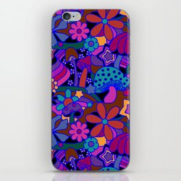 70's Psychedelic Garden in Cool Jeweltone iPhone Skin