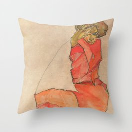 Egon Schiele - Kneeling Female in Orange-Red Dress Throw Pillow